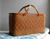 Vintage Woven Picnic Basket for Summer Lunches in Brown