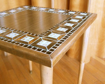Mid Century Modern Tile Top Side Table with Metallic Bronze Glaze End Table