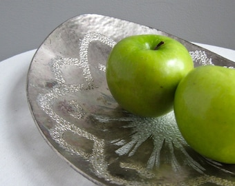 Vintage Dorothy Thorpe Silvered Glass Bowl - Mid Century Modern California Design Silver Metallic