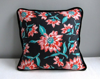 Vintage Fabric Pillow Cover - Black Pink Turquoise Floral Cotton - 20 Inch Decorative Pillow Throw Pillow