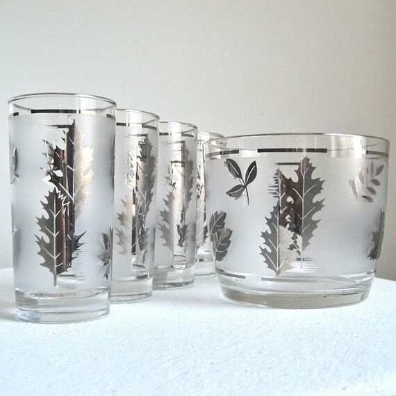 Libbey Silver Foliage Glasses and Ice Bucket