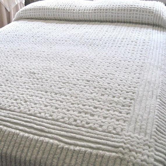 Vintage Snowy White Chenille Bedspread