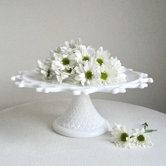 Vintage Rustic Milk Glass Wedding Cake Stand