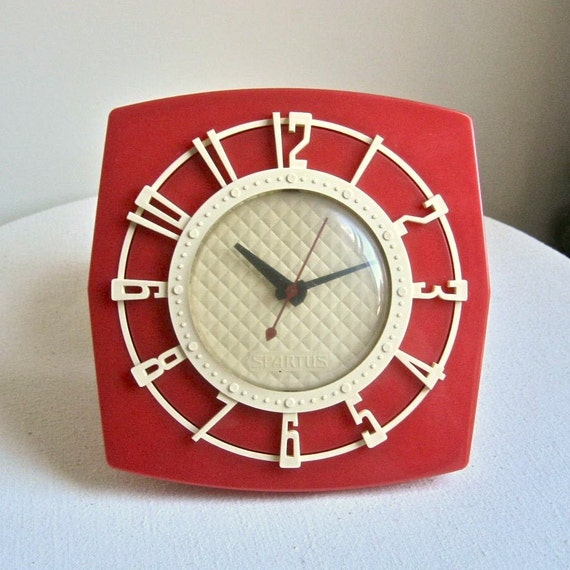 Mid Century Red Plastic Kitchen Clock Circa 1960