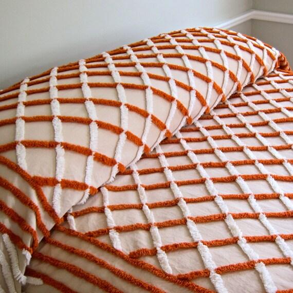 Vintage Chenille Bedspread in Pumpkin Orange Plaid
