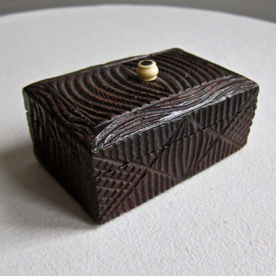 Carved Wood Trinket Box, early 20th century