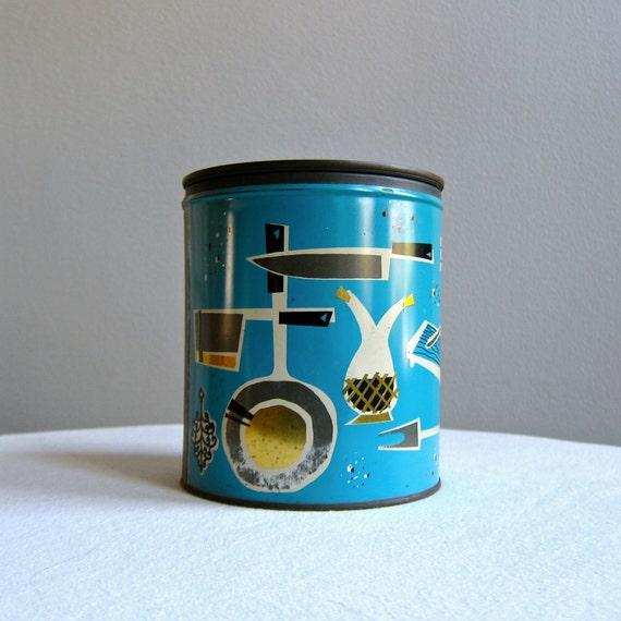 Vintage Kitchen Storage Tin for Fluffo Shortening in Blue with Utensils