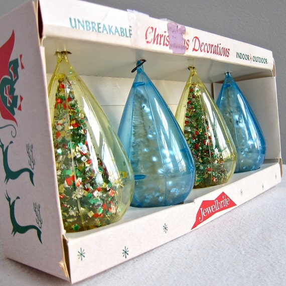 Vintage Christmas Ornaments with Bottle Brush Trees by Jewel Brite, 1960s