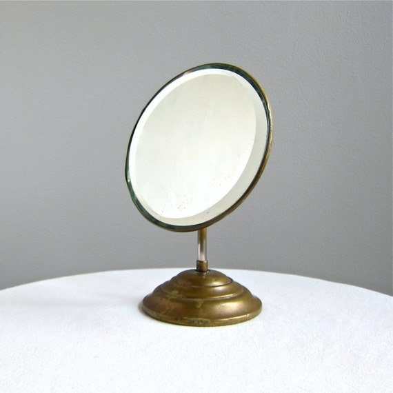 Antique Shaving Mirror with Brass Stand and Beveled Plate, c 1900
