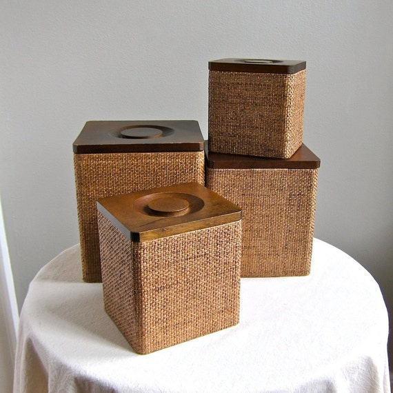 Holmar Grass Cloth Covered Wood Kitchen Storage Canisters -- Japan, 1970s