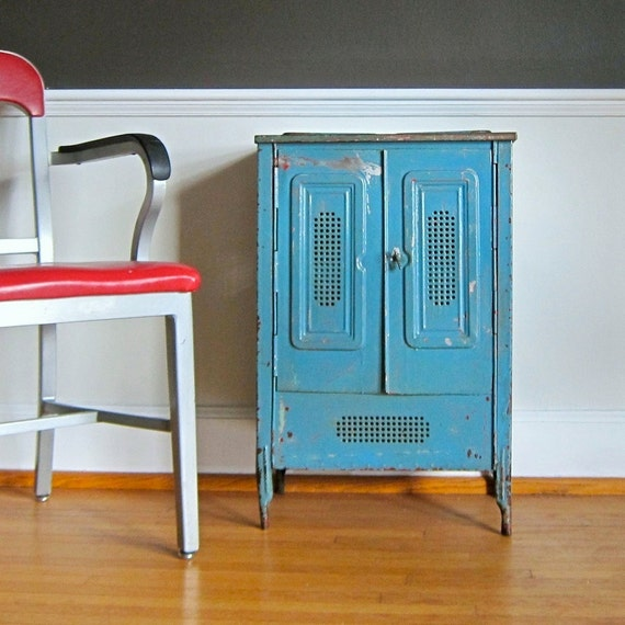 Rustic Painted Metal Cabinet Industrial Storage Vegetable