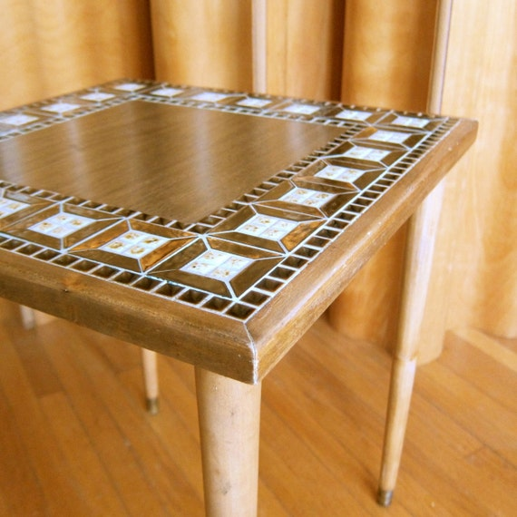 Mid Century Modern Tile Top Side Table with Metallic Bronze Glaze Small End Table