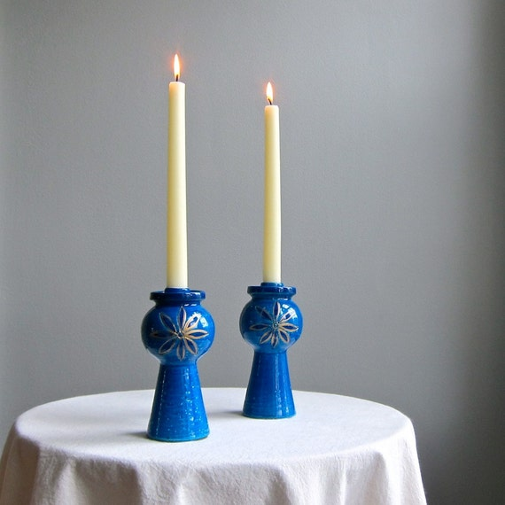 Pair of Rosenthal Netter Italian Pottery Candlesticks in Blue