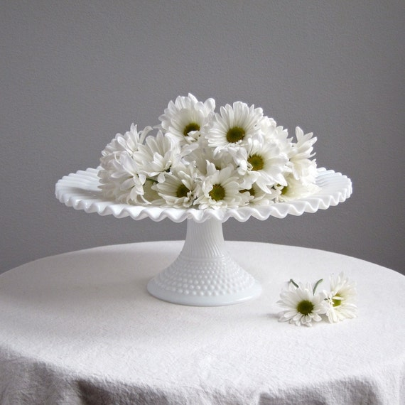 Early Fenton Hobnail Milk Glass Wedding Cake Stand, 1950s