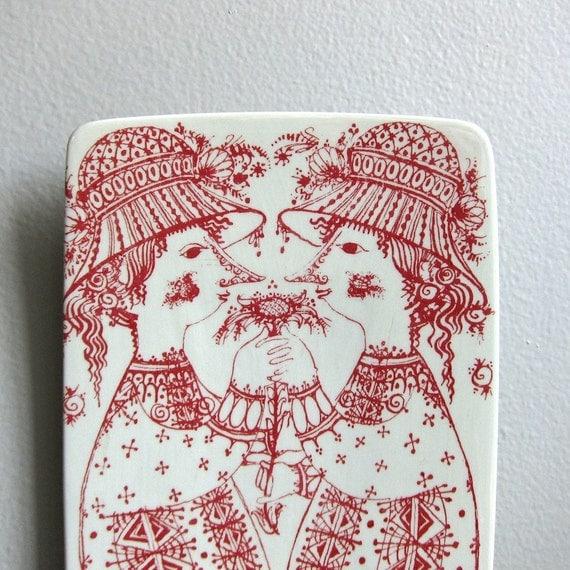 Bjorn Wiinblad Danish Modern Ceramic Plaque Dish in Red