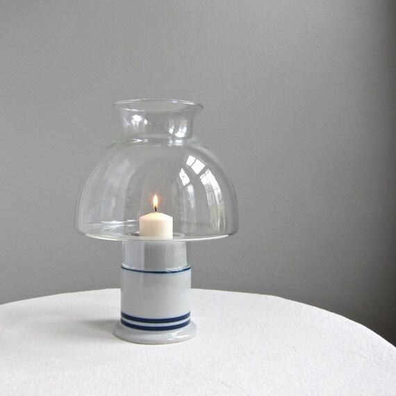 Dansk Bistro Hurricane Candle Lamp  Blue Stripes, 1970s