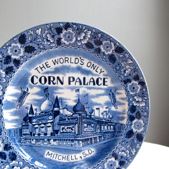 Corn Palace Blue and White Staffordshire Souvenir Plate