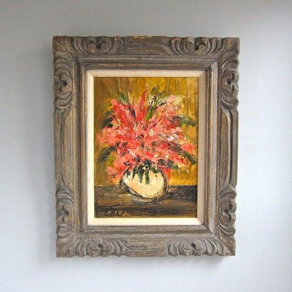 Mid Century Floral Still Life Painting by Estacien Benjamin Cien, 1960s Art