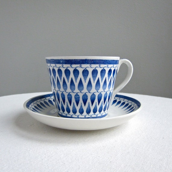 Upsala Ekeby Gefle Lillemor Breakfast Cup and Saucer in Blue and White, 1950s