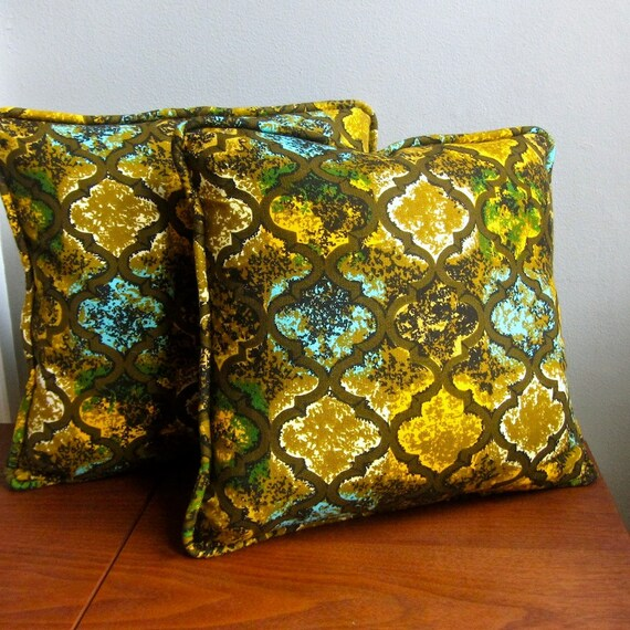 RESERVED LISTING - Three Vintage Fabric Decorative Pillow Covers - 1970s Modern Black and Gold Arabesque Throw Pillow