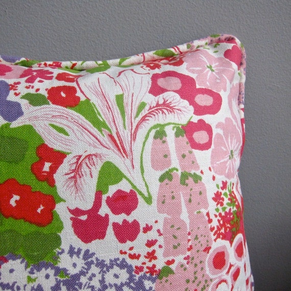 Vintage Fabric Pillow Cover - Pink and Green Floral by Greeff, 1970 - Summertime Flower Show - Girls Room Decor Decorative Throw Pillow