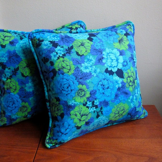 Vintage Fabric Pillow Cover - Blue and Green Modern Floral, circa 1970 Decorative Throw Pillow
