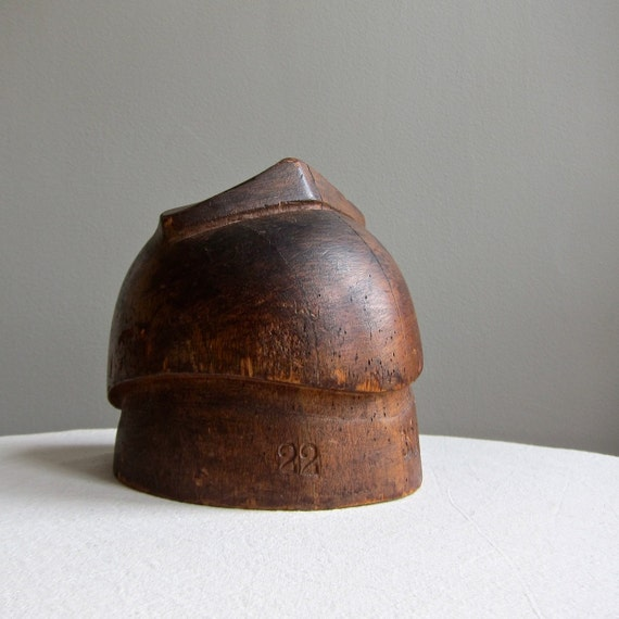 Vintage Milliner's Wood Hat Mold - Rustic Industrial Decor
