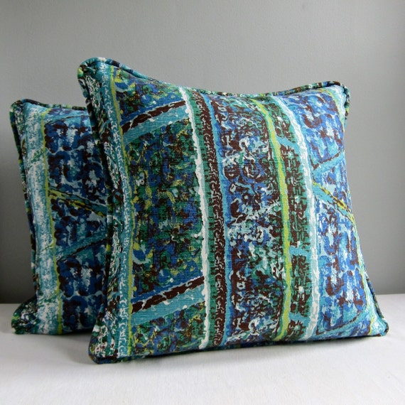 Mid Century Pillow Covers : Vintage Fabric Pillow Cover Mid Century Blue and Green