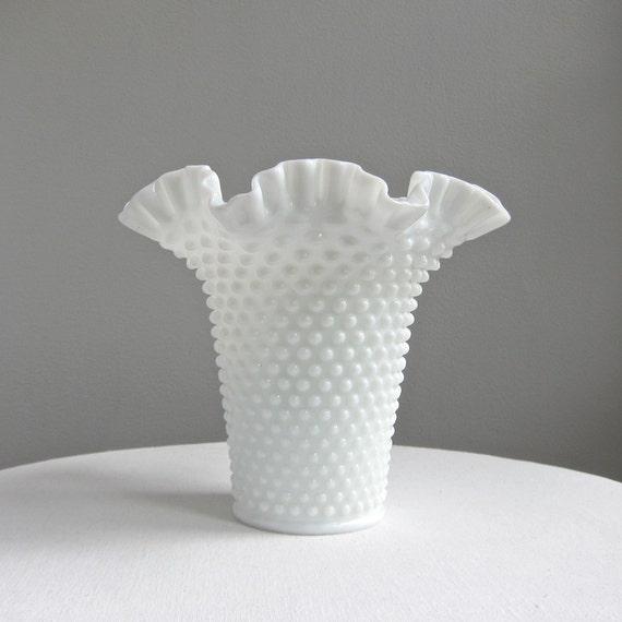 Large Hobnail Milk Glass Vase - Early Fenton, 1950s