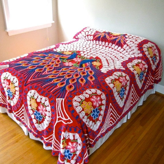 Vintage Peacock Chenille Bedspread - Red Double Peacock