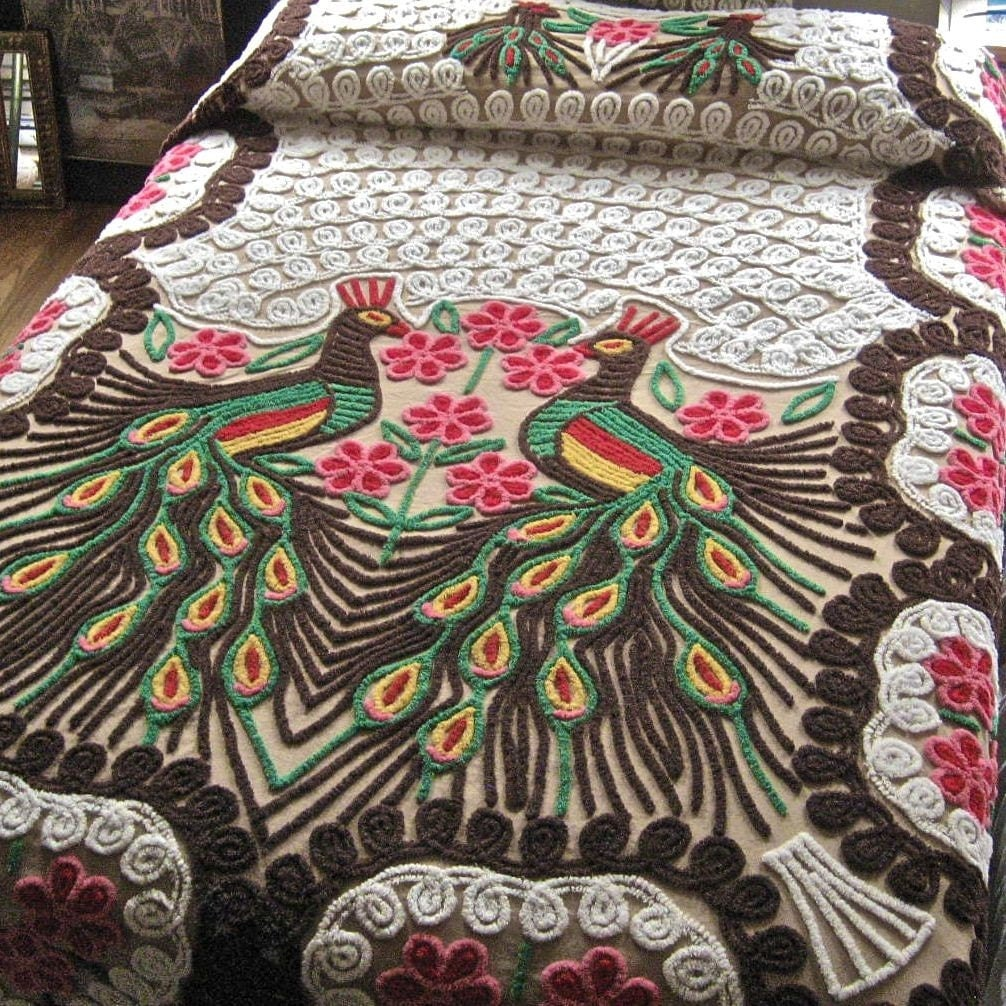 Vintage peacock chenille bedspread rich browns - Peacock bedspreads ...