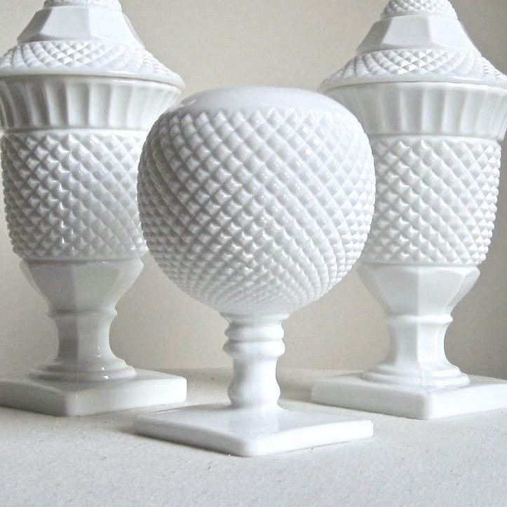Westmoreland Milk Glass Ivy Ball Vase Spherical White Glass Bumpy Texture Fruit