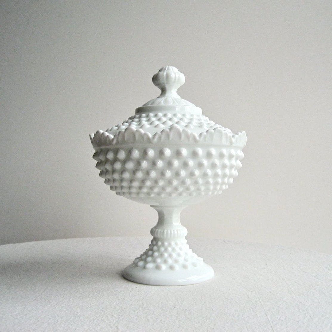 Fenton Hobnail Milk Glass Footed Candy Dish