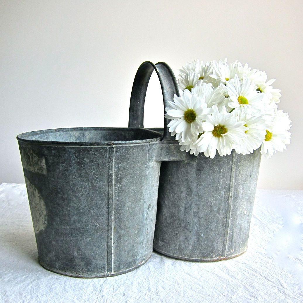 Vintage galvanized metal double bucket for Galvanized well bucket