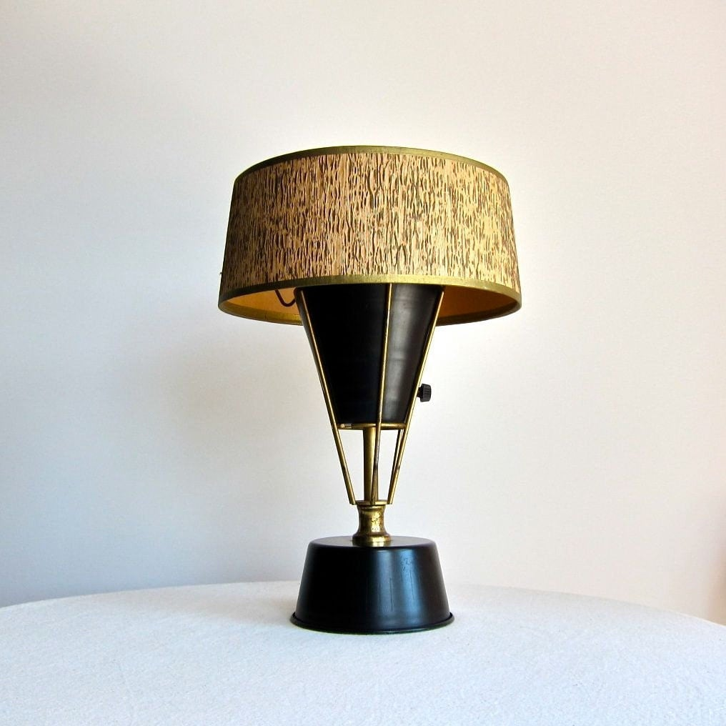 modern table lamp with wood grain shade by barkingsandsvintage. Black Bedroom Furniture Sets. Home Design Ideas