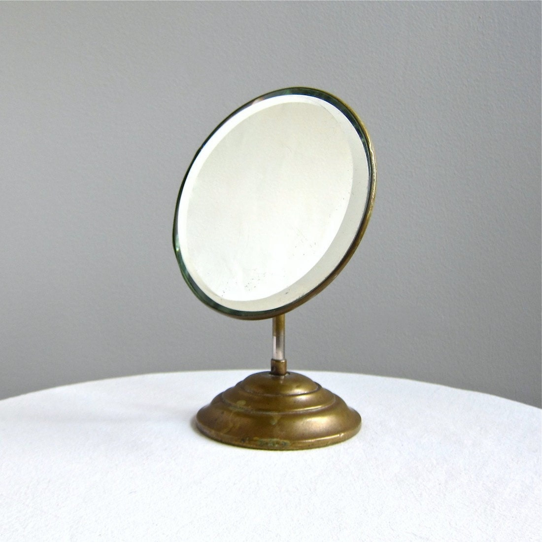 Antique shaving mirror with brass stand and beveled plate c for Shaving mirror