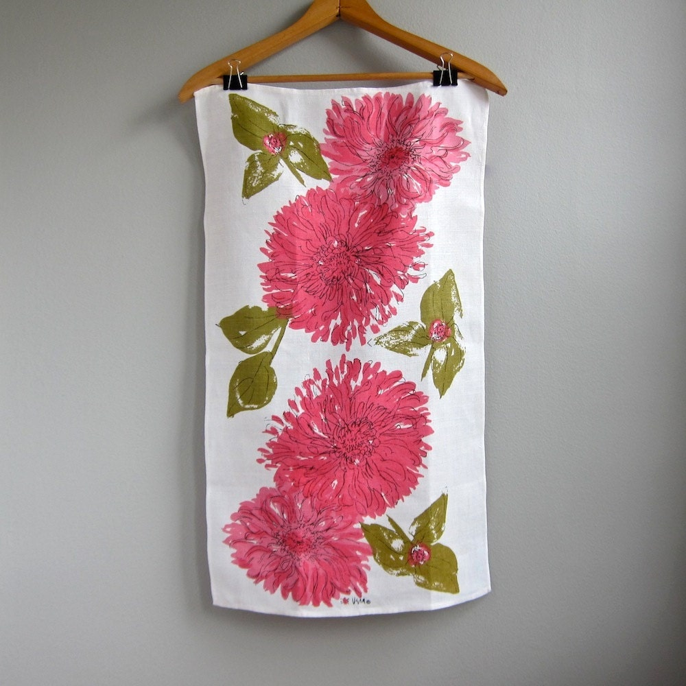 Vera Neumann Linen Tea Towel With Pink Flowers 1960s Kitchen