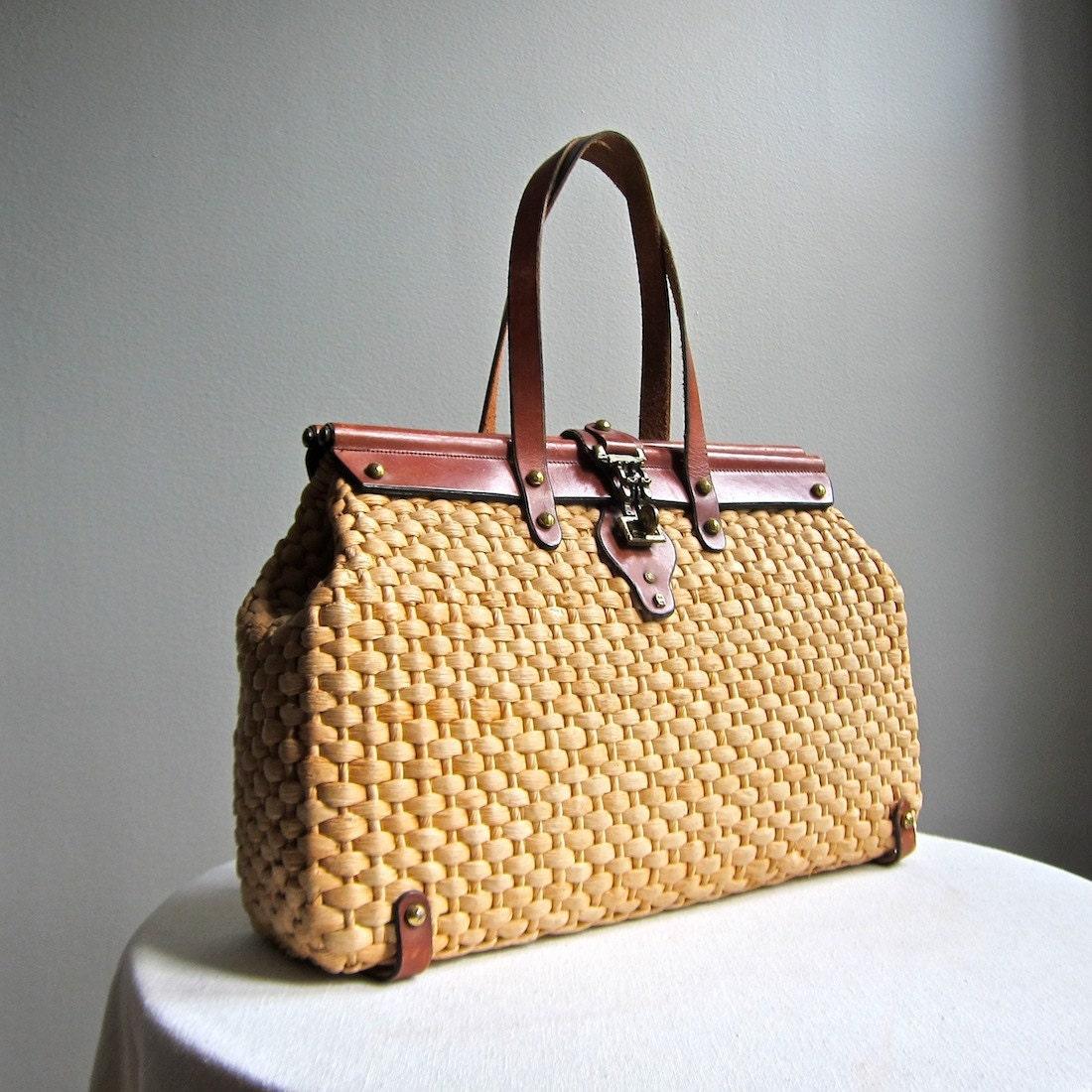 Etienne Aigner Summer Handbag Woven Straw by BarkingSandsVintage