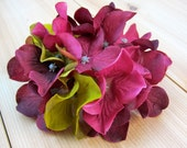 RESERVED Silk Flower Hair Clip for All Ages - burgundy and green flowers - perfect for casual or formal