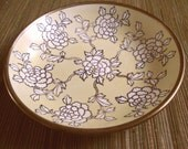 vintage brass and ceramic flowered dish