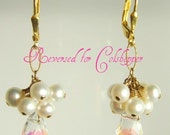 Reserved for Colshopper only- Swarovski crystal pearl earrings in Gold