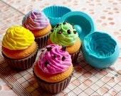 Mold / Mould - Flexible 3D Cupcake with Topping / Whipped Cream Mold (3 in 1) (25mm) for Miniature Food / Sweets / Dessert Craft or Pendants and Earrings Making (Resin Clay, Paper Clay, Polymer Clay, Scupley III, Fimo and Premo, etc)