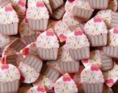 Cupcake Polymer Clay Cane Slices Cherry/Sprinkles Fimo Sweets Cupcake Slices Kawaii Miniature Scrapbooking Nail Art Deco (75-100pcs) CSW002