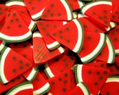 Watermelon Polymer Clay Cane Fimo Cane Slices (BIG / LARGE) Decoden Miniature Sweets Kawaii Scrapbooking Deco Nail Art (50pcs) BC11