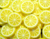 Lemon Polymer Clay Cane Fruit Fimo Cane Slices (BIG / LARGE) Decoden Miniature Sweets Kawaii Scrapbooking Deco Nail Art (50pcs) BC72