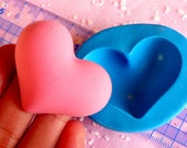 Heart Mold 44mm Flexible Silicone Mold DIY Jewelry Cabochon Valentine Love Chocolate Mold Resin Polymer Clay Gumpaste Cupcake Topper MD514