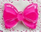 Kawaii Cabochon Bow with Glitter / Large Glitter Bow Tie Cabochon (60mm x 44mm / Dark Pink / Flat Back) Jumbo Decoden Piece Scrapbook CAB040