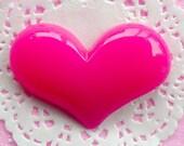 Large Cabochon Big Puffy Heart Cabochon (65mm x 44mm / Dark Pink / Flatback) Phone Deco Love Embellishment Wedding Party Decoration CAB059