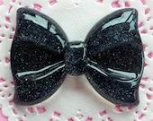 Black Bow Cabochon with Glitter (60mm x 44mm / Flatback) Giant Resin Cabochon Decoden Embellishment Glittery Bowtie Kawaii Big Cab CAB043
