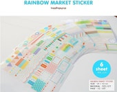 Kawaii Diary Deco Sticker Set Rainbow Market (6 Sheets / Transparent) Polka Dot Stripes Scrapbooking Packaging Party Deco Collage S007